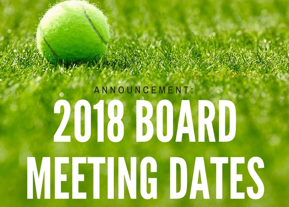 2018 Board Meeting Dates Announced